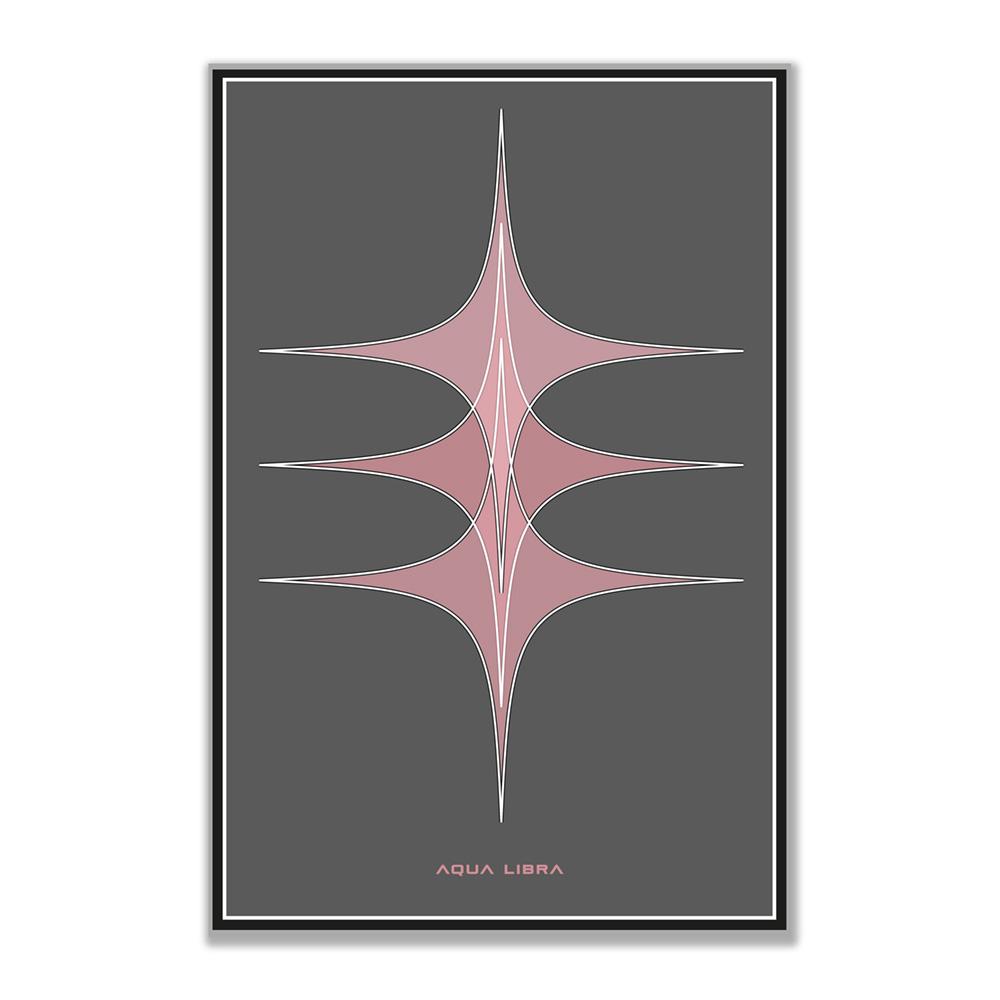 Blush response Poster print heeft een verticaal Wav bestand look. overloop van 3 roze sterren die in elkaar overlopen met witte en zwarte buitenranden op een donkergrijze achtergrond. De poster is niet vierkant maar heeft de verhouding van 3:2.