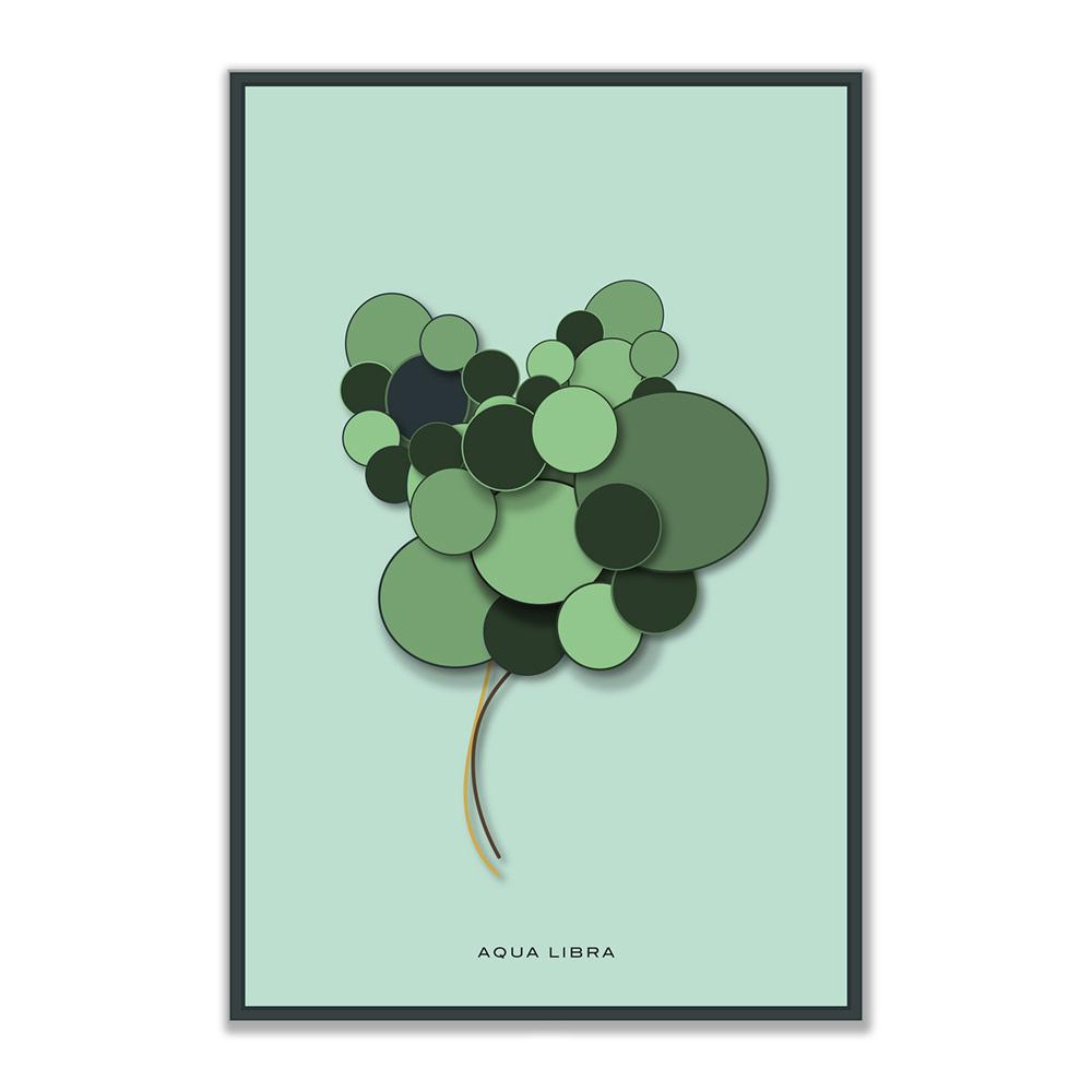Botanical in Green poster print. Het kunstwerk ziet eruit als een bloem gemaakt van grote en kleine cirkels. De poster is niet vierkant maar heeft de verhouding van 3:2.