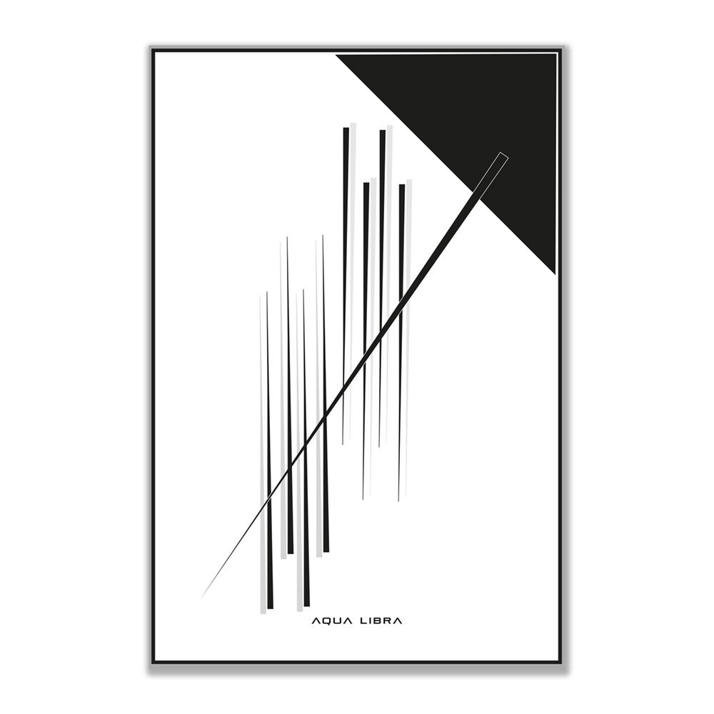 De afbeelding van het Mikado ontwerp van aqua Libra. Deze zwart wit print is portret georiënteerd.