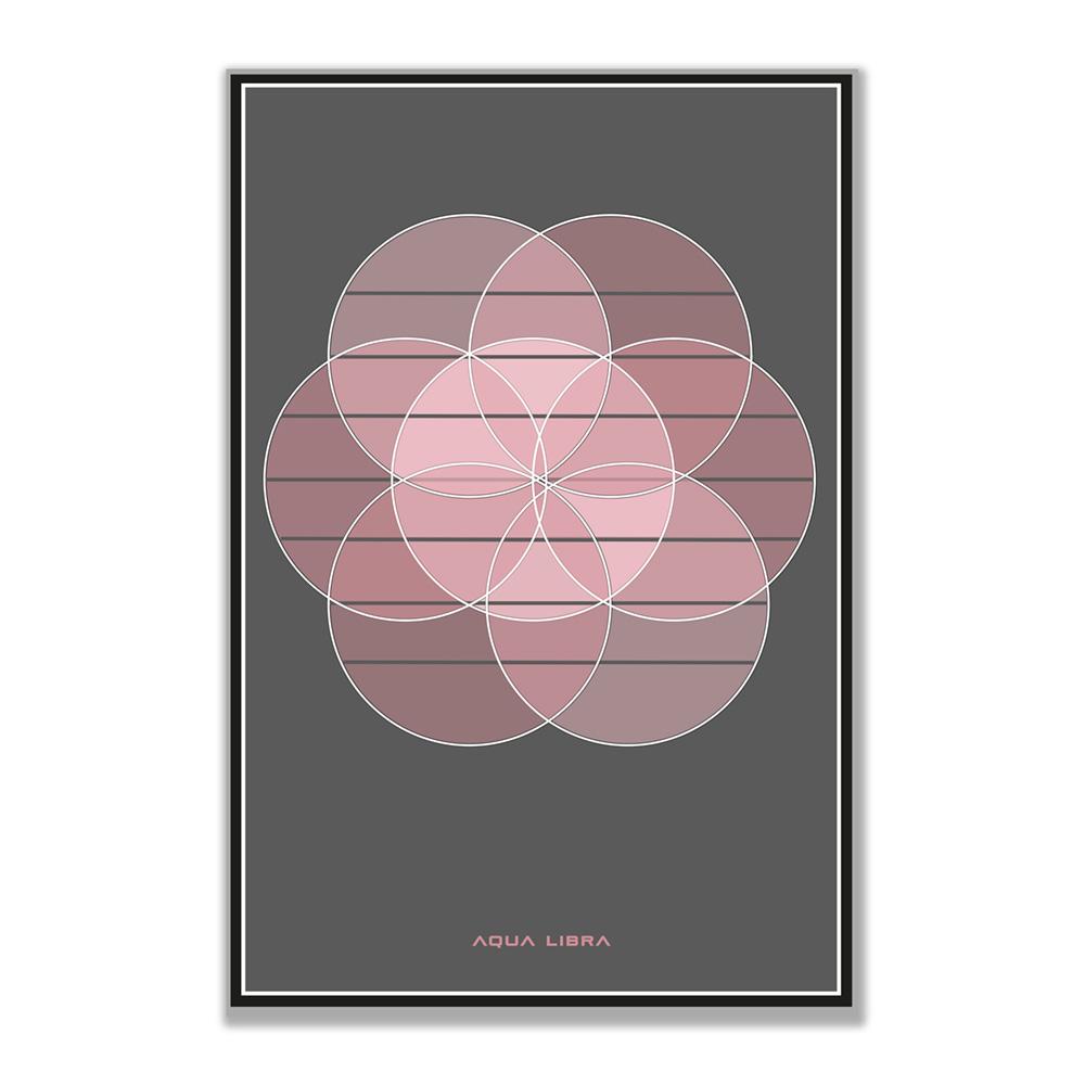 Foto van de Pink Blush afbeelding van Aqua Libra. Pastel roze cirkel vanuit het midden gecentreerd op donkergrijze achtergrond. Vanuit dit midden vallen er geometrisch nog 6 pastel roze cirkels overheen.