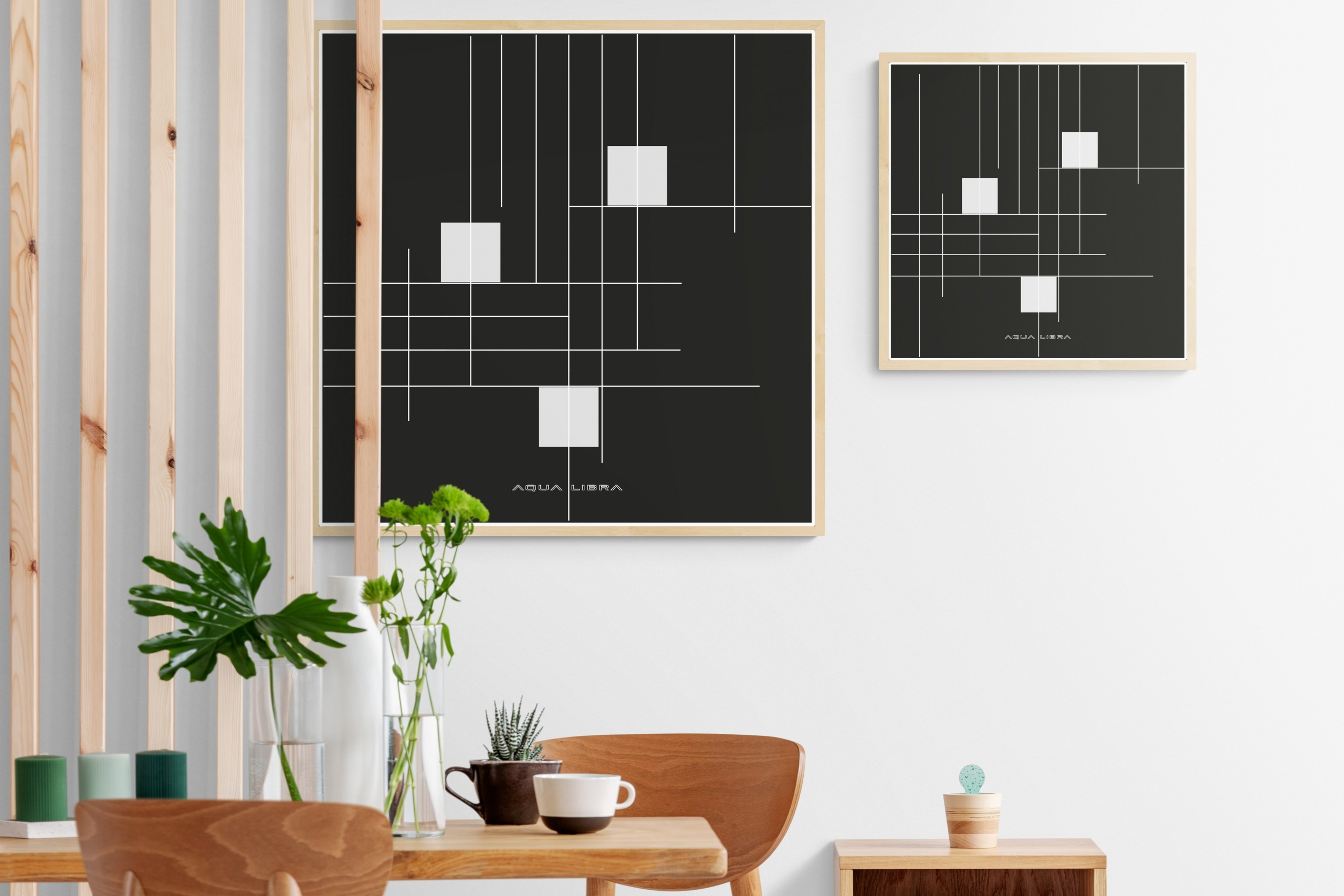 voorbeeld kamer met afmeting posters als voorbeeld.